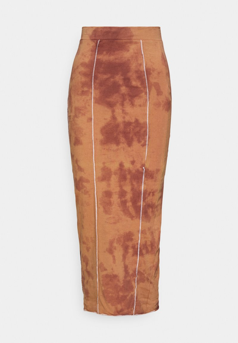 Missguided - OVERLOCKED DETAIL MIDAXI SKIRT - Gonna a tubino - brown
