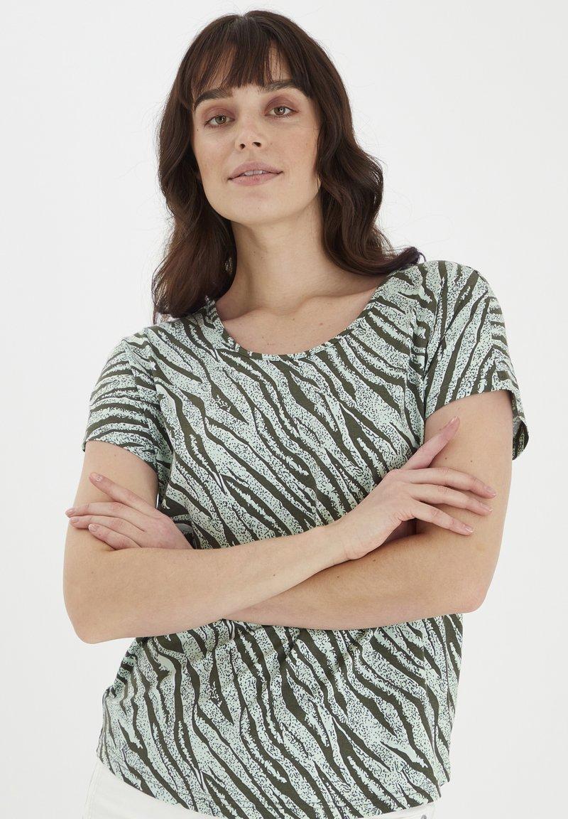 Fransa - Print T-shirt - aqua foam mix
