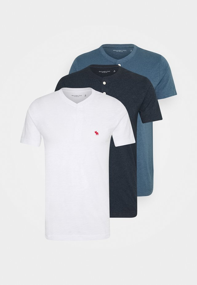 ICON HENLEY 3 PACK - T-shirt con stampa - white, blue, black