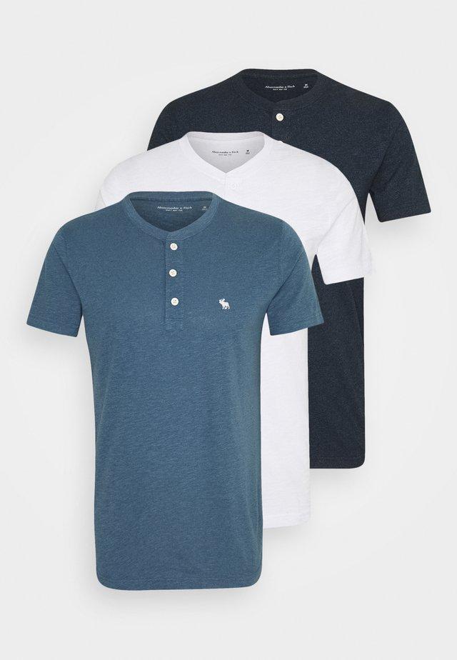 ICON HENLEY 3 PACK - Print T-shirt - white, blue, black