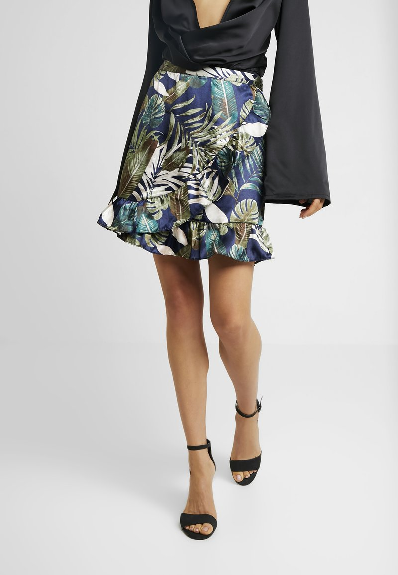 Vero Moda - VMLEAVES FRILL SKIRT - Wrap skirt - night sky