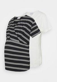 Mamalicious Curve - MLSIA  2 PACK - T-shirt z nadrukiem - snow white/black - 0