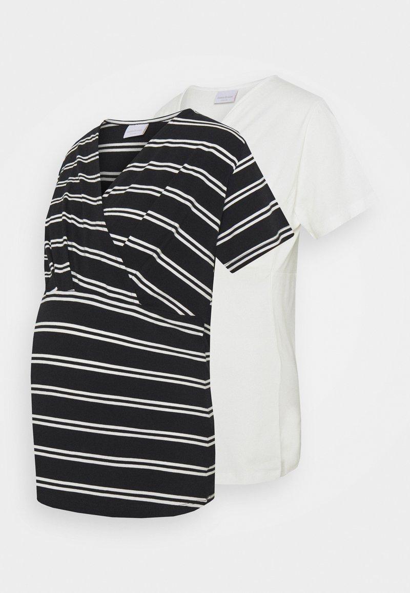 Mamalicious Curve - MLSIA  2 PACK - T-shirt z nadrukiem - snow white/black