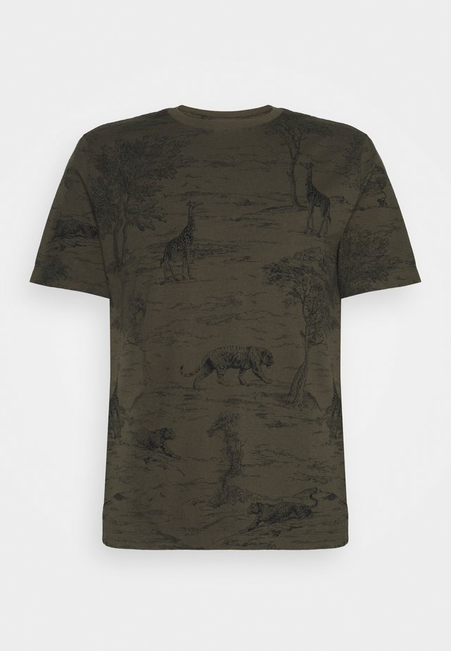 ALLOVER SAFARI GRAPHIC TEE - T-shirt con stampa - cargo green