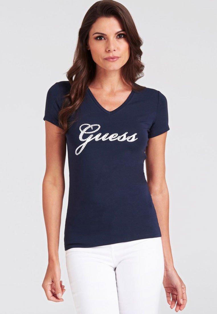 Guess - SLIM FIT - T-shirt z nadrukiem - blue