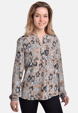 FLOWERS  - Button-down blouse - sand black-white