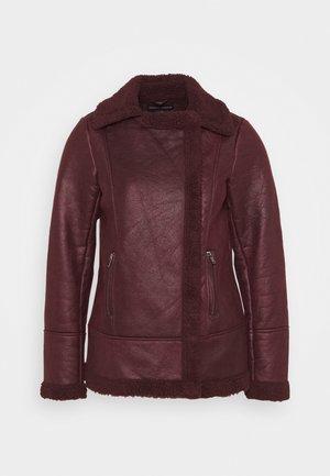 COATED SHEARLING AVIATOR JACKET - Light jacket - burgundy