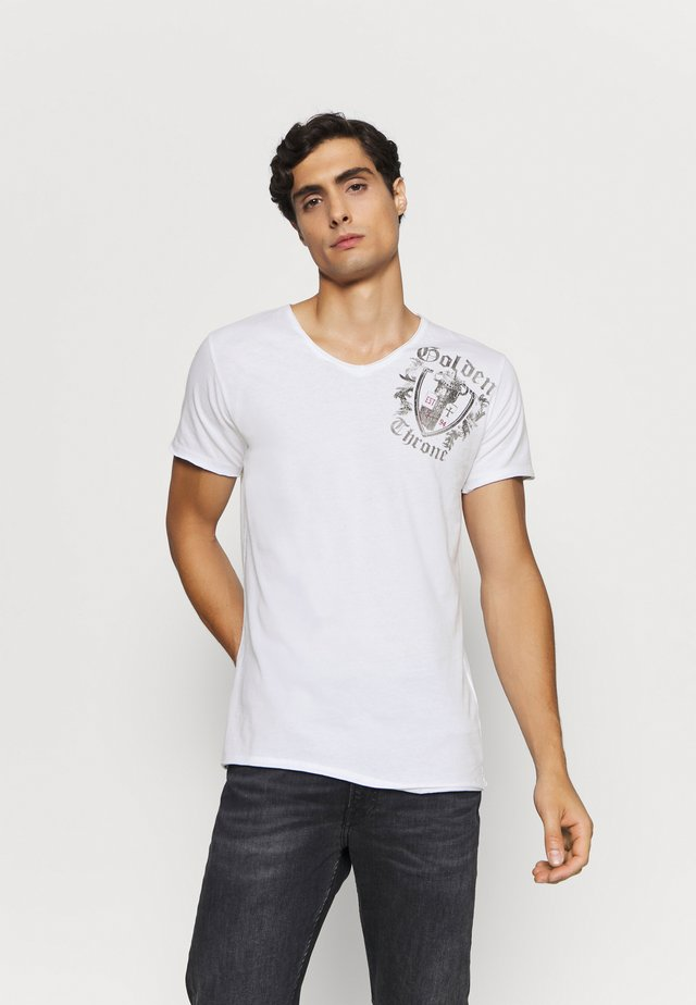 ROOTS NECK - Print T-shirt - white