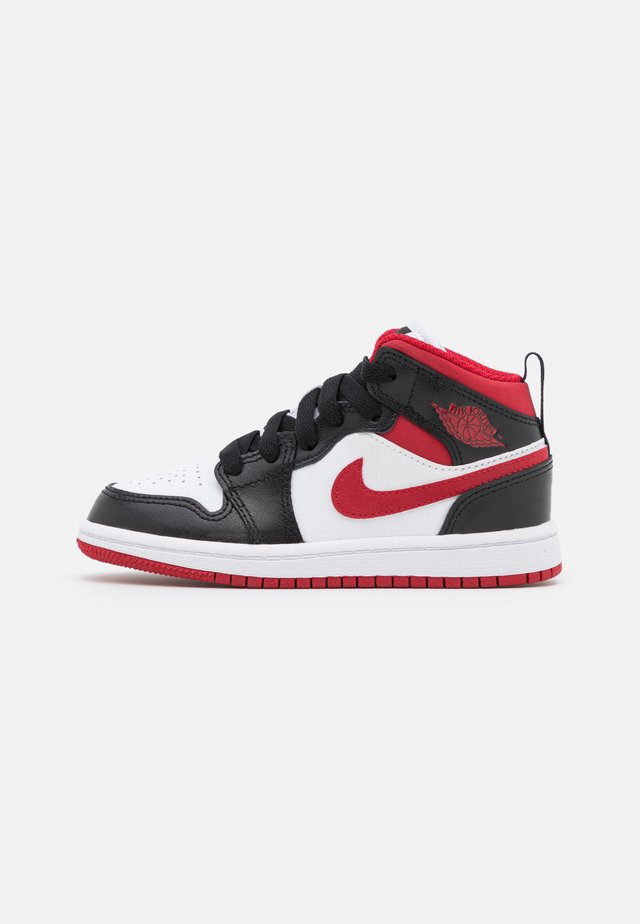 1 MID UNISEX - Basketball shoes - white/gym red/black