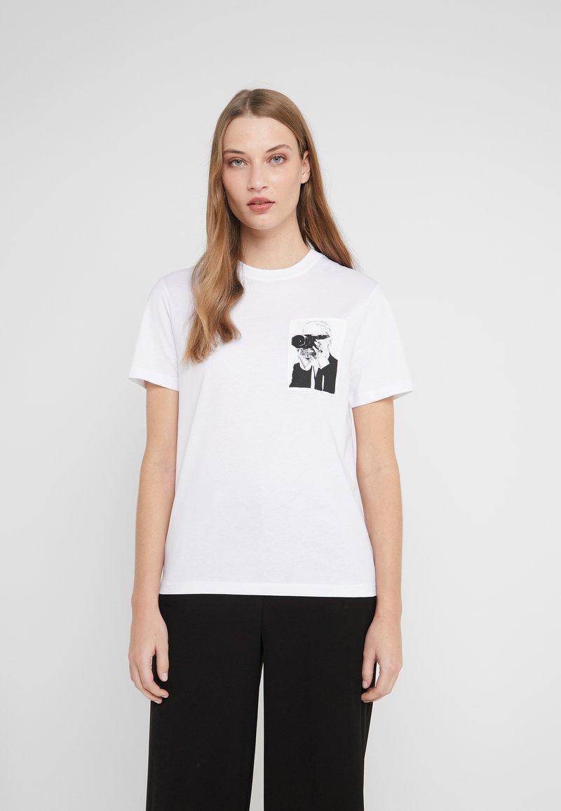 KARL LAGERFELD - LEGEND POCKET TEE - Print T-shirt - white