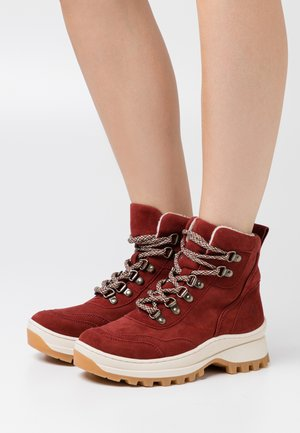 Lace-up ankle boots - ruby
