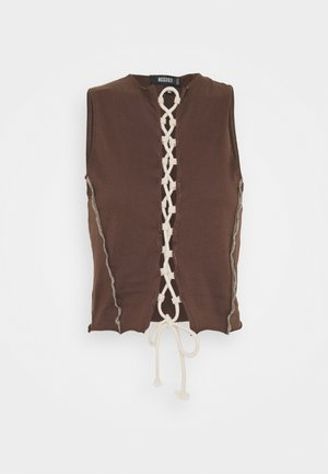 CONTRAST STITCH RACER UP CROP - T-shirts med print - chocolate