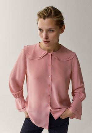 MIT DETAIL AM KRAGEN - Button-down blouse - neon pink