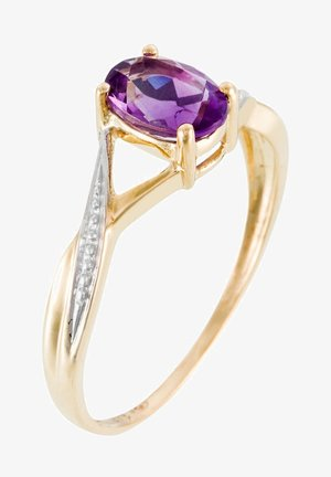 9K YELLOW GOLD RING CERTIFIED AMETHYST 0.85 CT - Ring - yellow