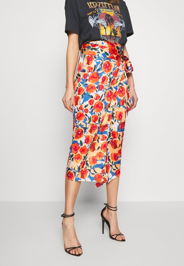 JASPRE DITSY PRINT SKIRT - Wrap skirt - orange