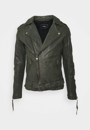 ETHAN - Leather jacket - forest green