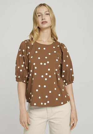 Blouse - brown dot print