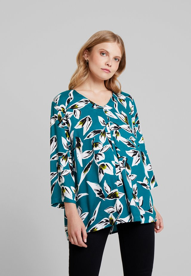 LEAF SLEEVE PLEAT FRONT BLOUSE - Blouse - atlantic green