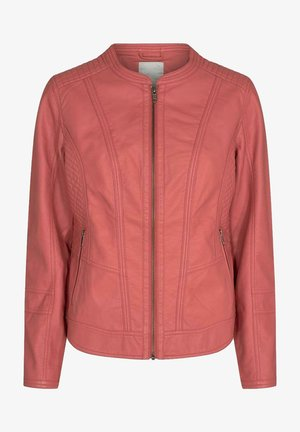 Faux leather jacket - coral