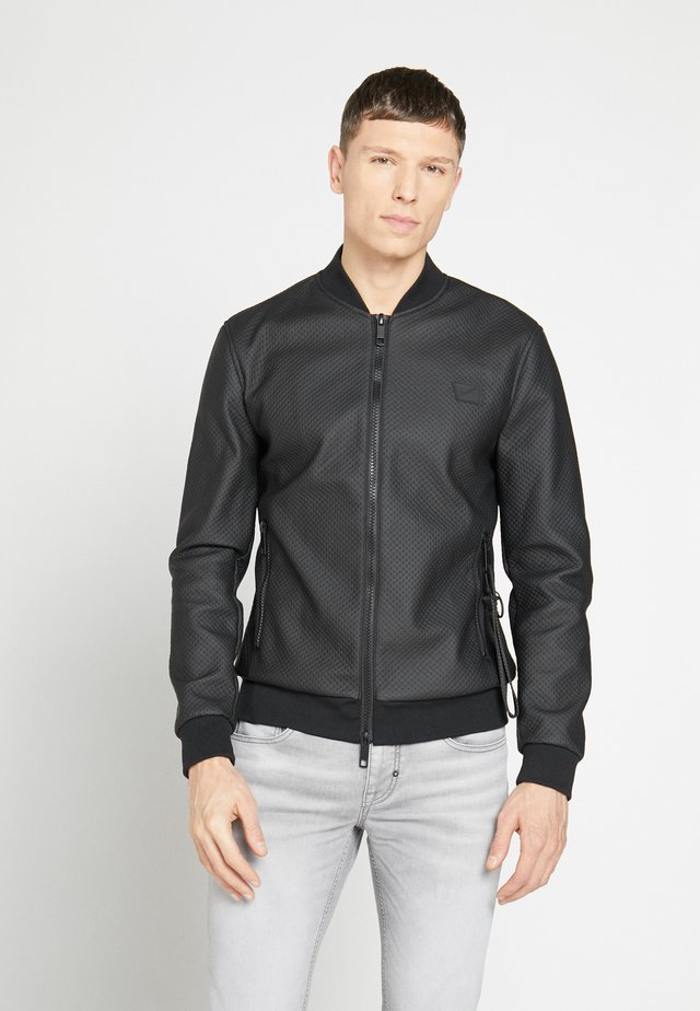 CHECKED DESIGN - Faux leather jacket - nero