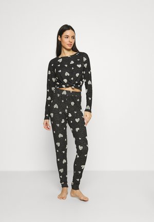 FLOCK HEART TIE TOP PANT SET - Pyjamas - charcoal