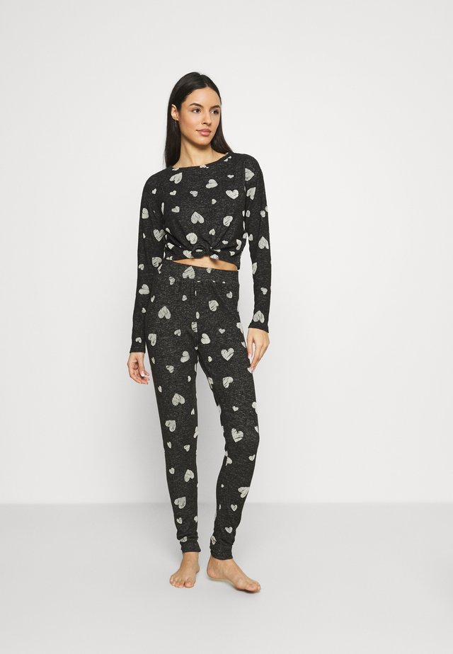 FLOCK HEART TIE TOP PANT SET - Pyjama - charcoal