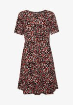 FLORAL EMPIRE SEAMED FIT AND FLARE DRESS - Day dress - black