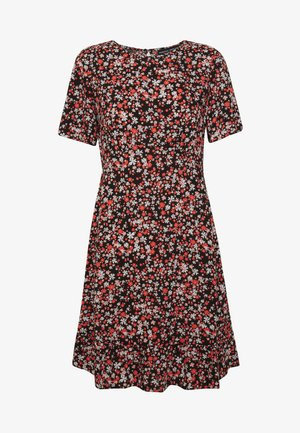 FLORAL EMPIRE SEAMED FIT AND FLARE DRESS - Korte jurk - black