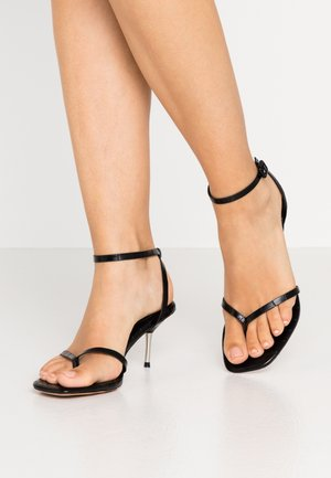 METAL HEEL STRAPPY HEELS - T-bar sandals - black