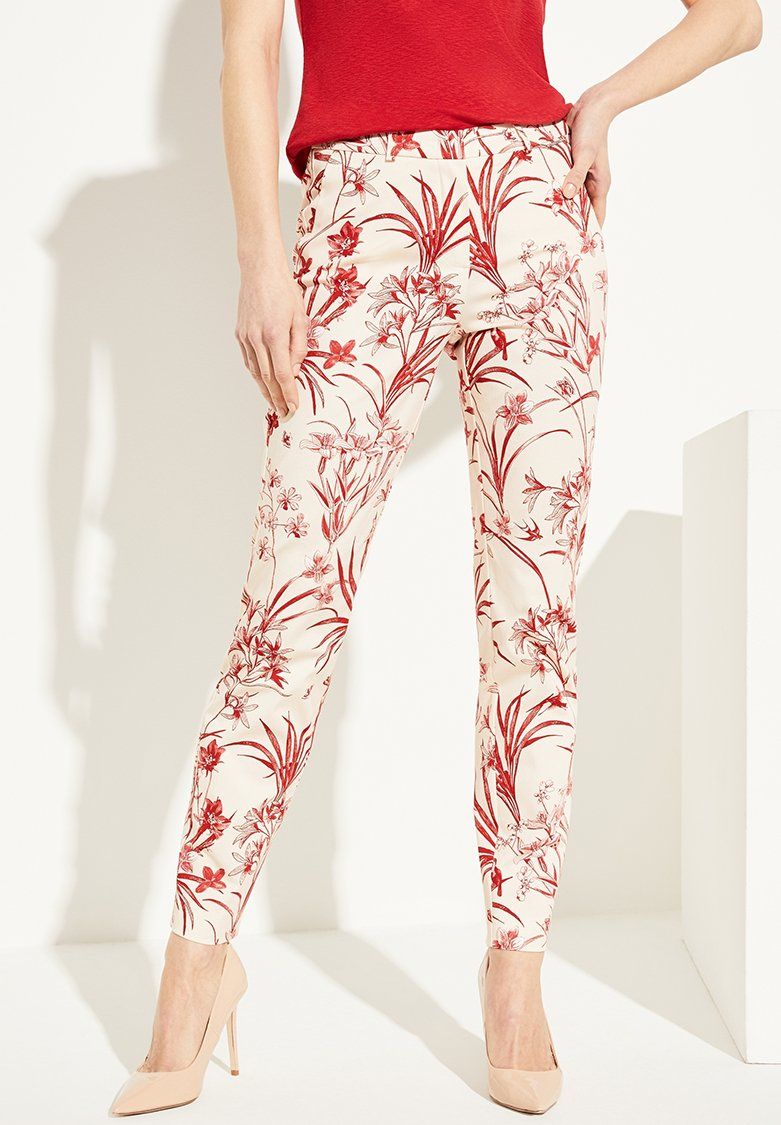comma - MIT BLUMENMUSTER - Trousers - shell porcelain flower