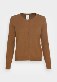 POLLIE BUTTON FRONT CARDIGAN - Cardigan - toffee brown
