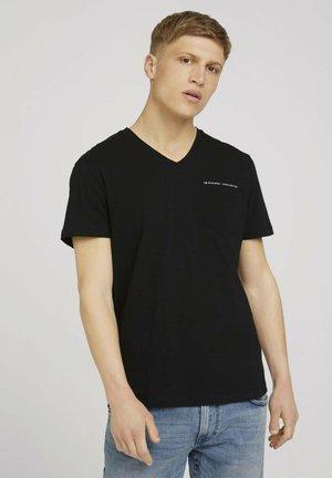 MELIERTES MIT BRUSTTASCHE - T-Shirt basic - black