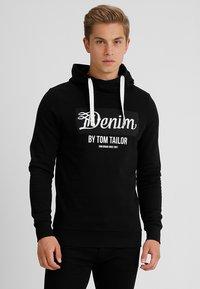 TOM TAILOR DENIM - HOODY WITH PRINT HOOD - Hoodie - black - 0