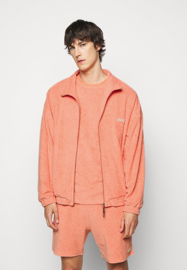 TOPOS SHAVED TERRY JACKET - Summer jacket - ex neon coral