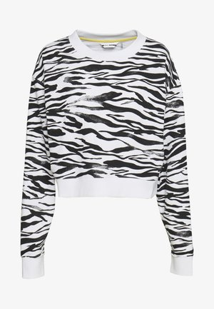 ZEBRA PRINT CROPPED PULLOVER - Sweatshirt - white
