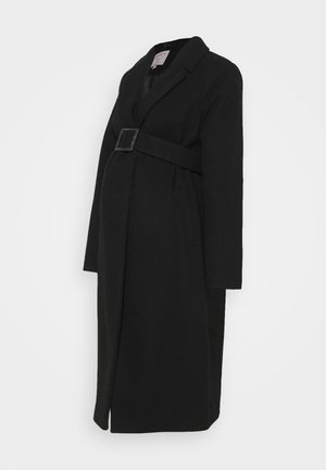 BELTED WRAP COAT - Abrigo - black