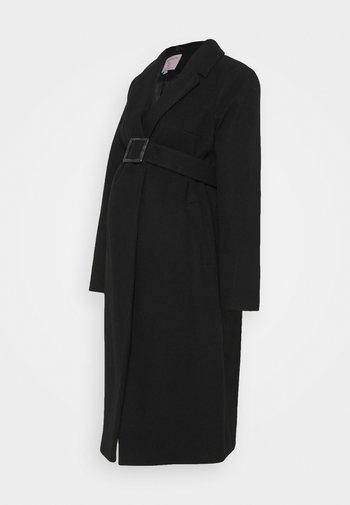 BELTED WRAP COAT - Klasický kabát - black