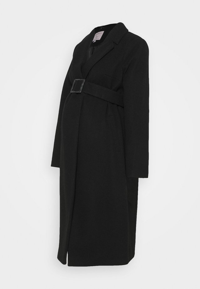 BELTED WRAP COAT - Villakangastakki - black