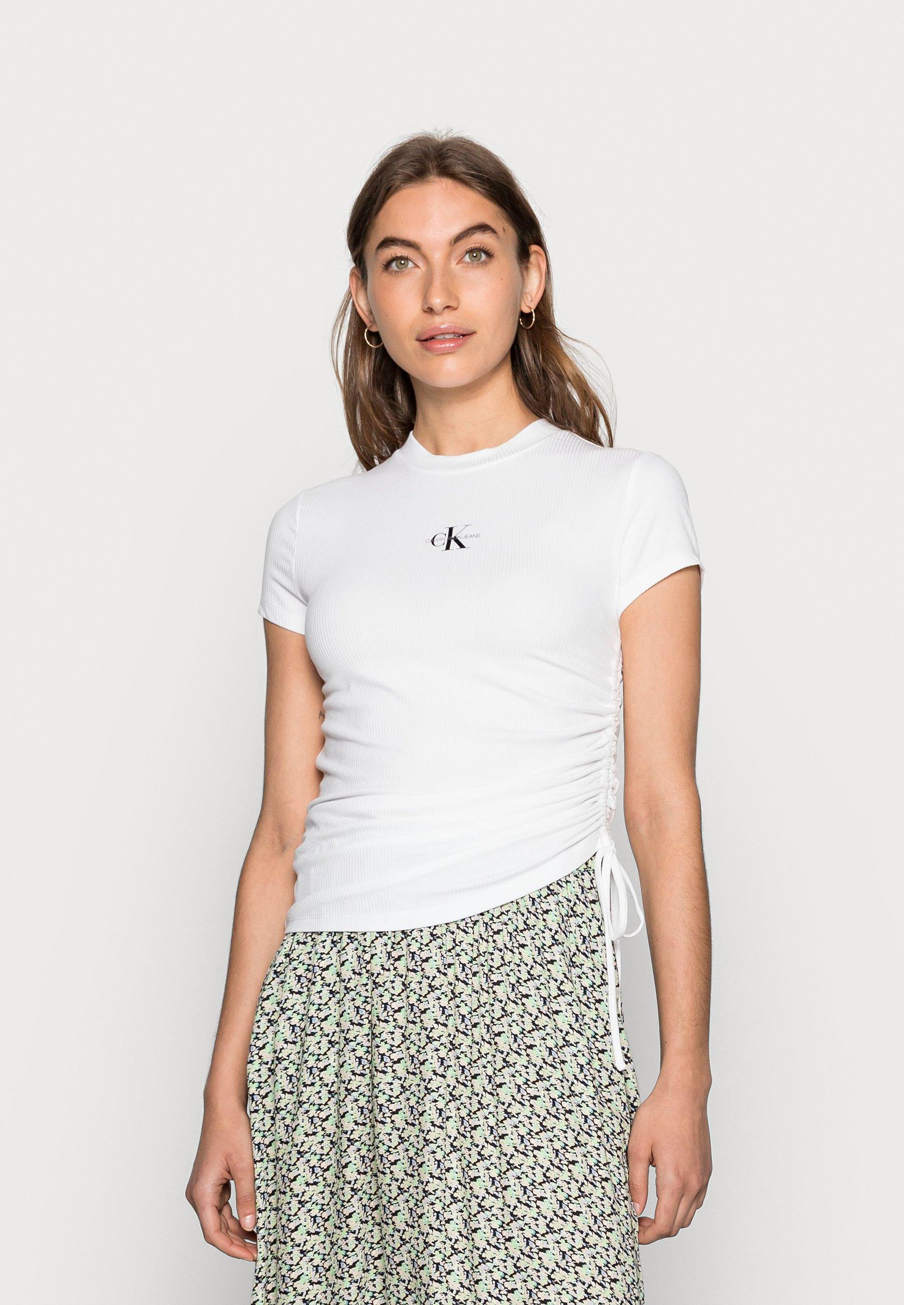 Mujer SIDE DRAWSTRINGS RIB TEE - Camiseta estampada