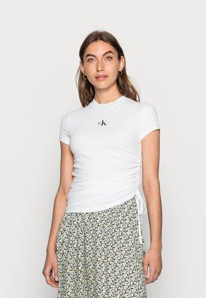 SIDE DRAWSTRINGS RIB TEE - Print T-shirt - white
