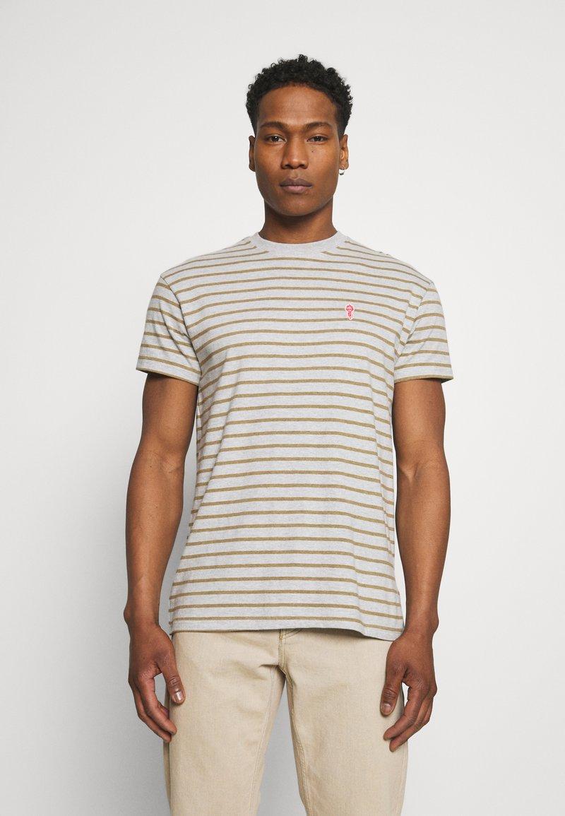 REVOLUTION - STRIPED - Print T-shirt - grey melange