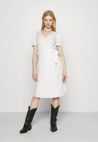 Vila - VISILLE WRAP MIDI DRESS - Day dress - snow white - 0