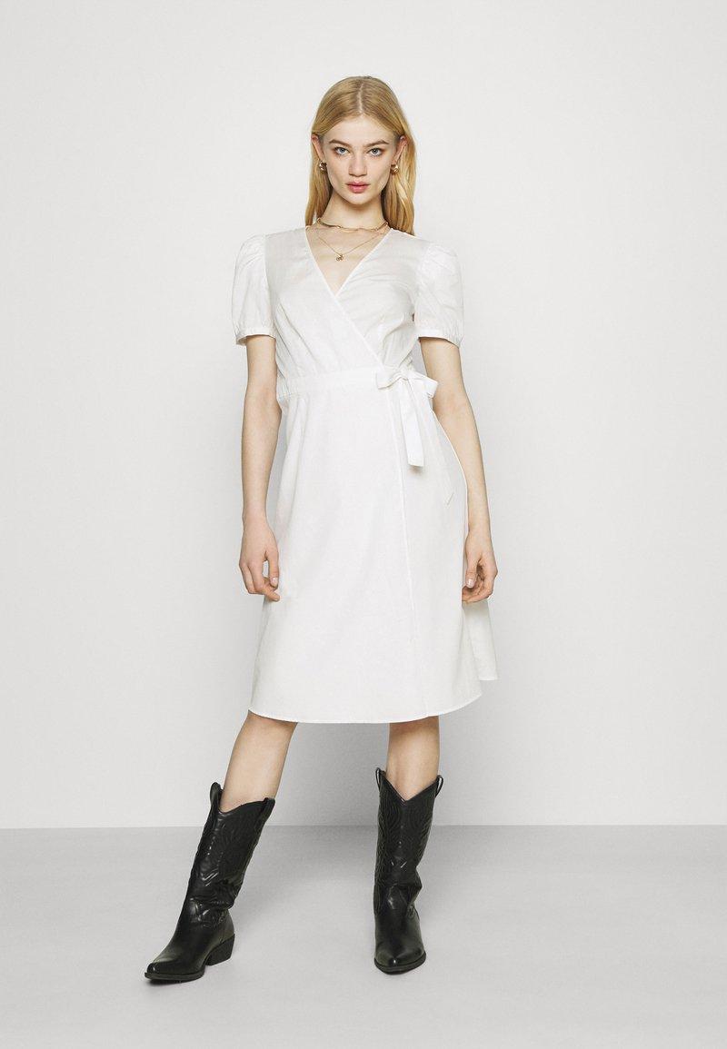 Vila - VISILLE WRAP MIDI DRESS - Day dress - snow white