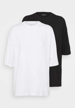 2 PACK OVERSIZE - T-shirts - white/black