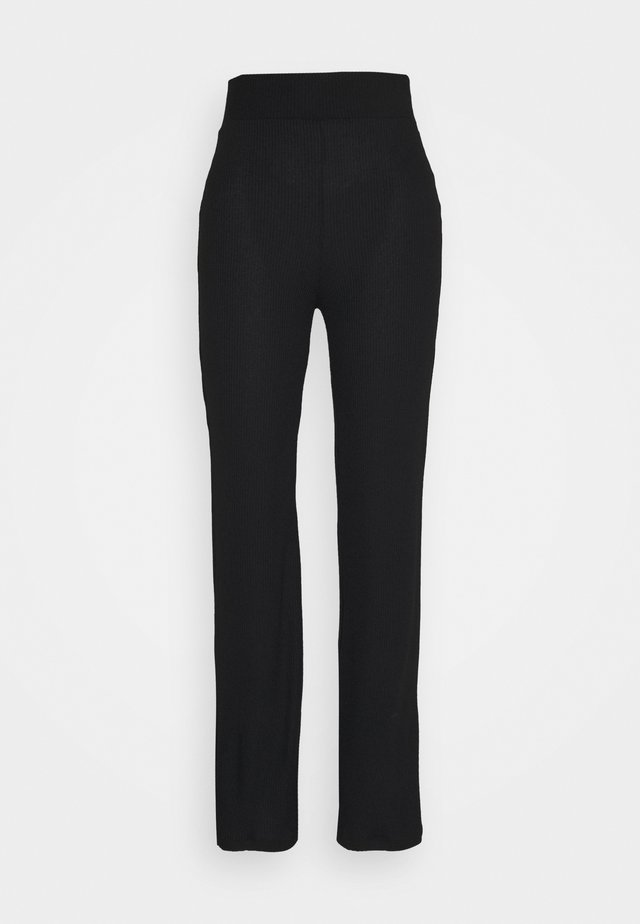 HIGH WAISTED PANTS - Tygbyxor - black