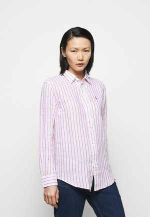 STRIPE LONG SLEEVE - Button-down blouse - white/pink