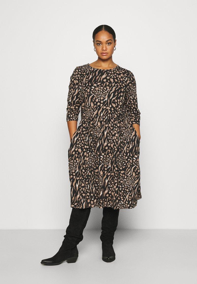 CAPSULE by Simply Be - MIDI 3/4 SLEEVE SMOCK DRESSES 2 PACK - Jersey dress - black