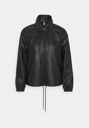 PCGALINA TRACK SHACKET - Faux leather jacket - black