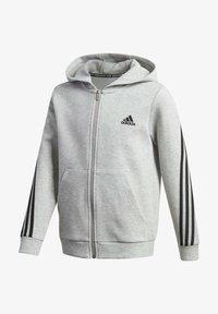 adidas Performance - 3-STREIFEN DOUBLEKNIT KAPUZENJACKE - Zip-up hoodie - grey - 0
