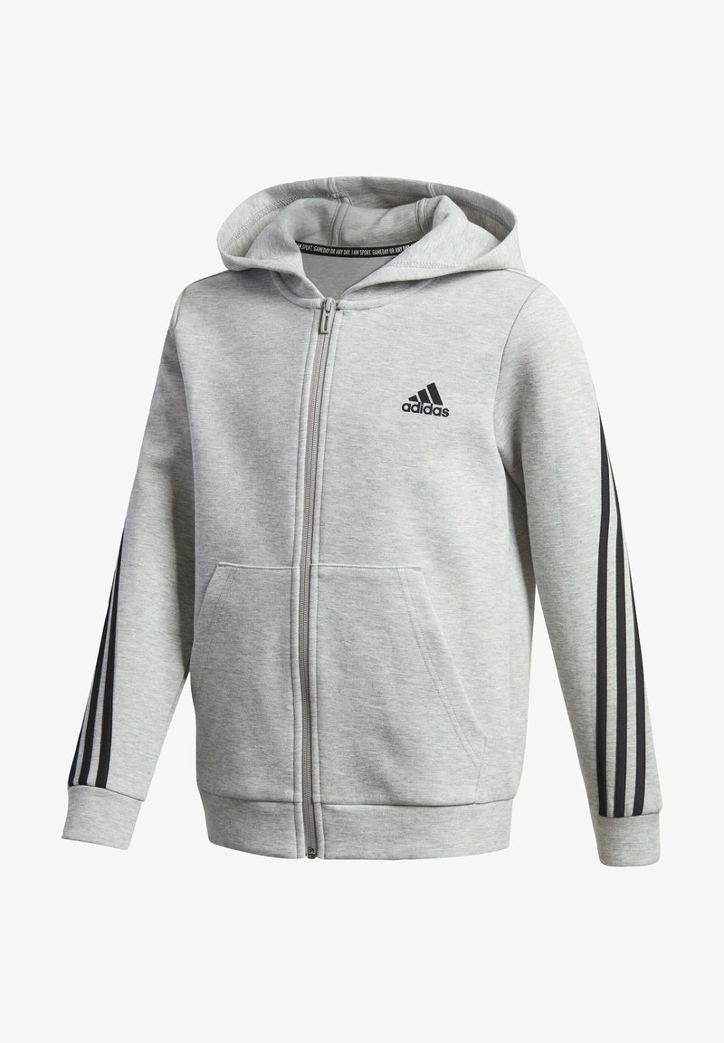 adidas Performance - 3-STREIFEN DOUBLEKNIT KAPUZENJACKE - Zip-up hoodie - grey